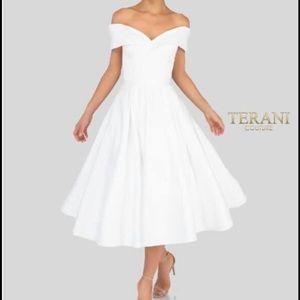 Terani Knee length white engagement dress